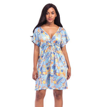 Load image into Gallery viewer, Short Sleeve Flower Print V Neck Backless Loose Dress - kats closet1