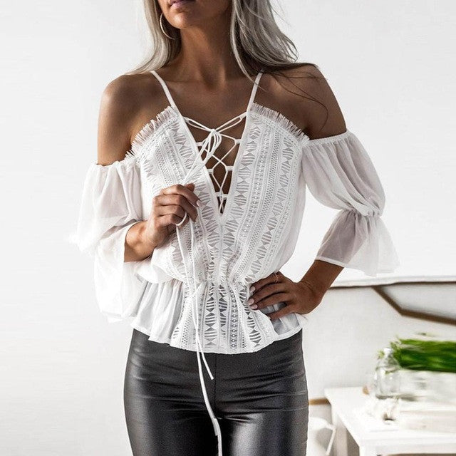 Chiffon Camis Blouse Women Short Sleeve Off Shoulder Hollow Out Lace Blouse For Elegant Casual Tops White Shirt - kats closet1