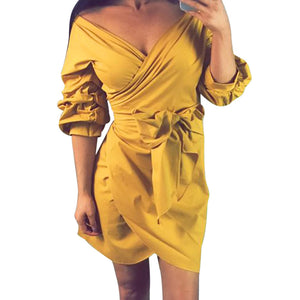 Women Yellow Dress Mini Casual Beach Three Quarter Evening Party Puff Sleeve Sexy Deep V Neck Sundress With Sashes - kats closet1