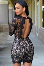Load image into Gallery viewer, Black Lace Nude Mini Dress - kats closet1