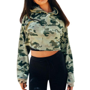 Camouflage Autumn Women blouse Long Sleeve Hooded Casual Sweatshirt Hoodie Pullover High Quality Cotton Short Blusas - kats closet1
