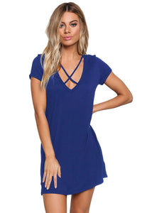 Blue Jersey Knit Cross Strap Tunic Top Short Dress - kats closet1