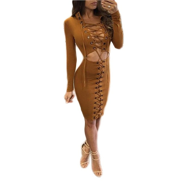 New Autumn Dress WomenParty Club Mini Dress Lace-up Open Umbilicus Slim Bodycon Corset Cut Out Stand Long Sleeve Dressess 2017 - kats closet1