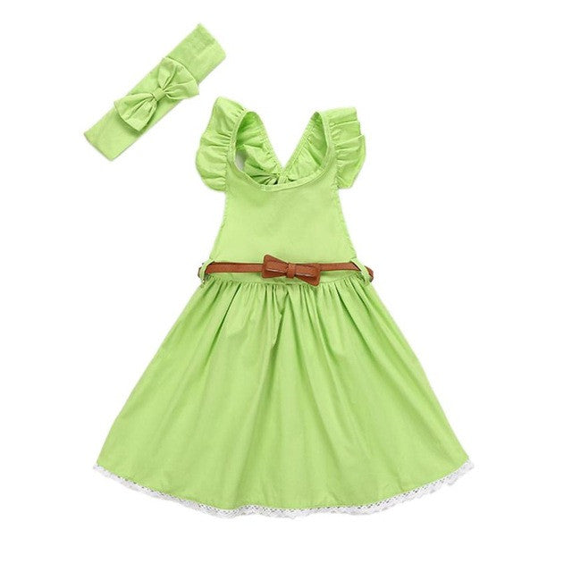 Toddler Girls Bowknot Dress+Belt+Headband Set - kats closet1