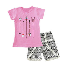 Load image into Gallery viewer, Girls Clothing Sets 2017 Summer Kids Outfits Sets Lovely Printed Short Sleeve Tops T-shirt+Tassel Pants 2Pcs for Girls Clothes - kats closet1