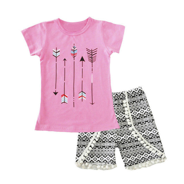 Girls Clothing Sets 2017 Summer Kids Outfits Sets Lovely Printed Short Sleeve Tops T-shirt+Tassel Pants 2Pcs for Girls Clothes - kats closet1