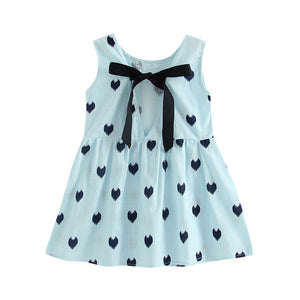 Heart Print Princess Kids Sleeveless Backless Dress - kats closet1