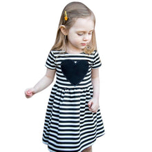 Load image into Gallery viewer, Girl Party Dress 2017 striped heart Toddler Girls Dresses kids clothes Summer Style princess girl dress Children Costumes 2-6Y - kats closet1