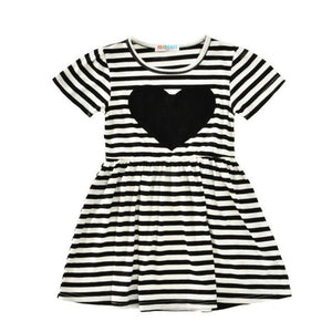 Girl Party Dress 2017 striped heart Toddler Girls Dresses kids clothes Summer Style princess girl dress Children Costumes 2-6Y - kats closet1