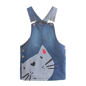 KIDS Clothes Hot Selling Children Toddler Kid Baby Girls Denim Straps Sundress Print Piece Dress Clothing Outfits Set - kats closet1