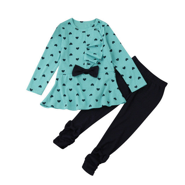 Heart Pattern Girls Clothes Kids Long Sleeve T-shirt + Pants Casual Suits Baby Girls 2 pc Set Bow Children Girl Clothing 1-3 Yrs - kats closet1