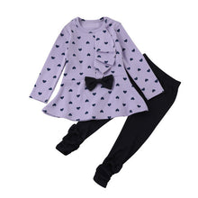 Load image into Gallery viewer, Heart Pattern Girls Clothes Kids Long Sleeve T-shirt + Pants Casual Suits Baby Girls 2 pc Set Bow Children Girl Clothing 1-3 Yrs - kats closet1