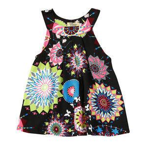 Girls Dresses Little Princess Red Dress Flower Printing Summer Girl Fashion Tops Baby Kids One Piece Casual Clothes - kats closet1