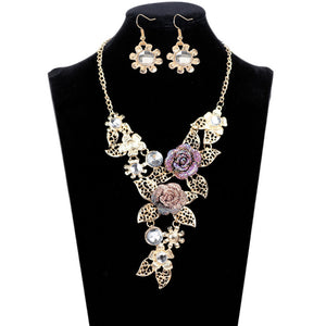 Women's Elegant Diamond Flowers Necklace Statement Earrings Jewelry Set - kats closet1