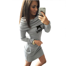 Load image into Gallery viewer, Women Hooded Long Sleeve Black, Gray Dress - kats closet1