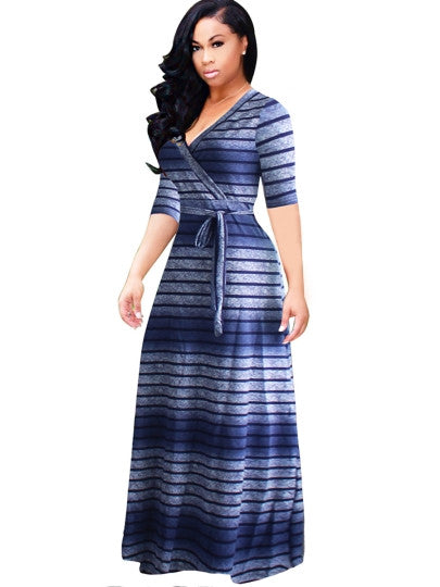 Blue Half Sleeve Plus Size Women's Maxi Dress - kats closet1