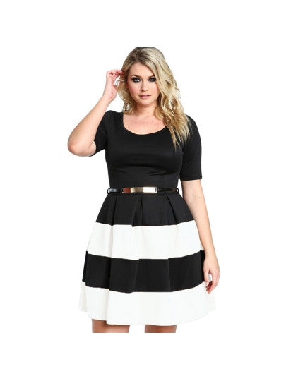 Plus Size Striped Women's Day Dress - kats closet1