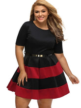 Load image into Gallery viewer, Plus Size Striped Women's Day Dress - kats closet1