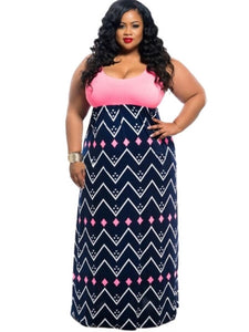 Plus Size Striped Women's Maxi Dress - kats closet1