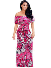 Load image into Gallery viewer, Slash Neck Leaf Pattern Women's Maxi Dress - kats closet1