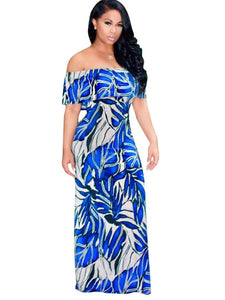 Slash Neck Leaf Pattern Women's Maxi Dress - kats closet1