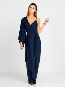 Charming Plain V-Neck Off-the-Shoulder Long Sleeve Women's Maxi Dress - kats closet1