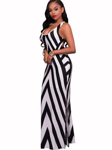 White Striped Bandage Women's Maxi Dress - kats closet1