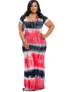 Plus Size Short Sleeve Gradient Women's Maxi Dress - kats closet1