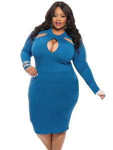 Plain Pencil Plus Size Long Sleeve Women's Sheath Dress - kats closet1
