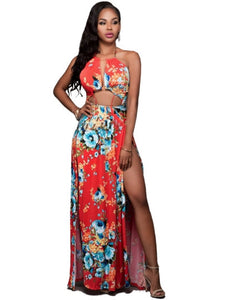 Orange Red Halter Women's Maxi Dress - kats closet1