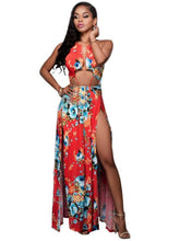 Load image into Gallery viewer, Orange Red Halter Women's Maxi Dress - kats closet1