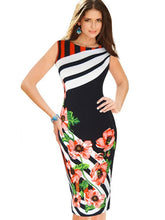 Load image into Gallery viewer, Sleeveless Striped Flower Printed Women's Pencil Dress - kats closet1