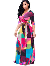 Load image into Gallery viewer, V Neck Plus Size Printing Women's Maxi Dress - kats closet1
