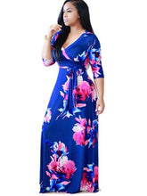 Load image into Gallery viewer, Half Sleeve Ruffle Flowers Women's Maxi Dress - kats closet1