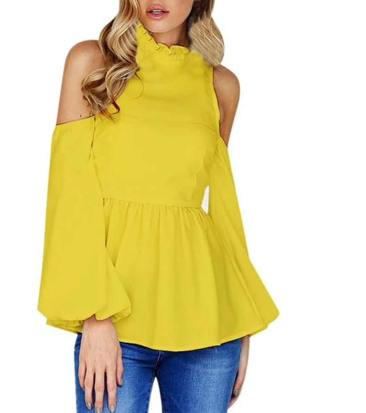 Feitong Women Yellow Blouse Sexy Off Shoulder Blouses for Women Lady Casual Autumn Flare Long Sleeve Solid Top Blusas Female - kats closet1