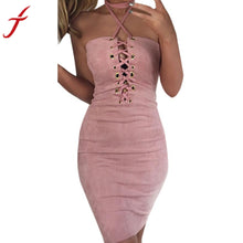 Load image into Gallery viewer, Sexy Women Off Shoulder Dress 2017 Summer Halter Bandage Bodycon Cocktail Sleeveless 4 Colors Sexy & Club Short Mini Dress - kats closet1