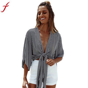 Summer Women Striped Beach T-shirt Cape Ladies Deep V neck Crop Top Shirt Loose Casual Batwing Sleeve Short Tops - kats closet1