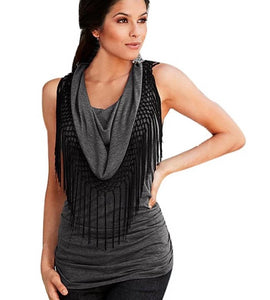 Fashion Womens Summer Loose Top Sleeveless Tassel Blouse Casual Gray Tops tracksuit for women345 #LWN - kats closet1