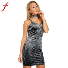 Load image into Gallery viewer, Sexy Womens Dress Backless Bodycon Deep V Collar Shiny Velvet Dress Ladies Party Clothes with A Collar - kats closet1