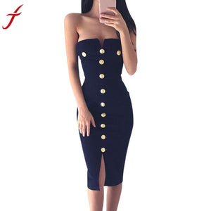 Fashion Spring Ladies Womens Sexy Off Shoulder Button Bodycon Dress Sexy Split Bodycon Pencil Cocktail Knee-Length Party Dress - kats closet1