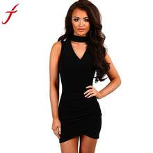 Load image into Gallery viewer, Sexy Women Ladies Cotton Dress 2017 Summer Dresses Slim Bodycon Sleeveless Vintage Halter Deep v Neck Pack Hip vestidos mujer - kats closet1