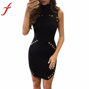 Women Sexy Black Dress Jurken High-Necked Sequin Button Metal circle Sleeveless Package Hip Slim Mini Dress vestido de festa - kats closet1