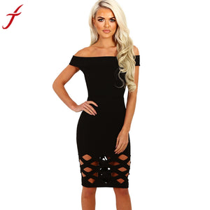 Women Off Shoulder Boat Neck Hollow Bodycon Hollow Out Ladies Caged Sleevlees Mini Dress vestidos#LSN - kats closet1