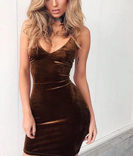 Load image into Gallery viewer, Summer Dress 2017 Womens Sexy Deep V Sleeveless Backless Bodycon Mini Dress Ladies Nightout Velvet Party Dresses - kats closet1