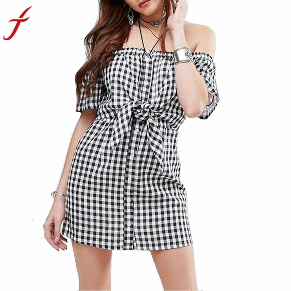Off Shoulder Summer Dress Women Plaid Check Bodycon Loose Dresses Bohemian vestidos Beach Cotton Black Mini Dress - kats closet1