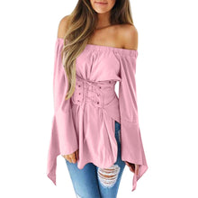 Load image into Gallery viewer, Women Sexy Flare Long Sleeve Tops Pure Color Off Shoulder Bandage Slim Blouse - kats closet1