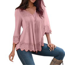 Load image into Gallery viewer, Fashion Women Lace V Neck T-Shirt Casual Loose Tops Blouse Shirts - kats closet1