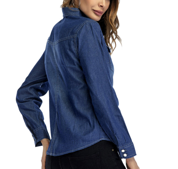 Women Denim Shirt Fashion Style Long Sleeve Casual Shirts Women Blouse Tops - kats closet1
