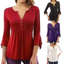 Load image into Gallery viewer, Women Autumn Flare 3/4 Sleeve Slim V Neck Buttons Blouse Tops Shirt Tee - kats closet1