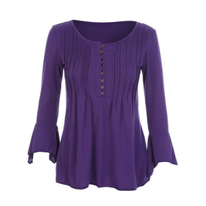 Women Autumn Flare 3/4 Sleeve Slim V Neck Buttons Blouse Tops Shirt Tee - kats closet1